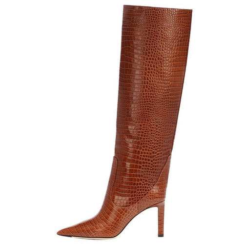 Go Wild Faux Croc Knee-High Boots