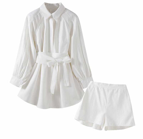 Angelic White Button-Down and Shorts Set