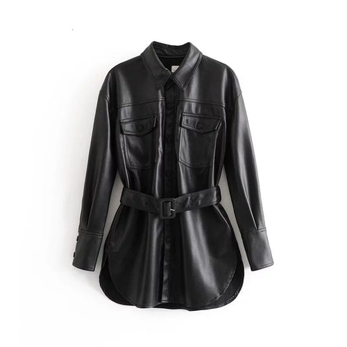 Priya Faux Leather Belted Jacket