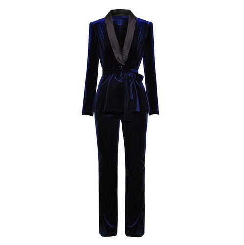 Sugar Mama Velvet Suit With Waist Belt