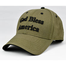 "Load image into Gallery viewer, ""God Bless America"" Olive Green Cap"