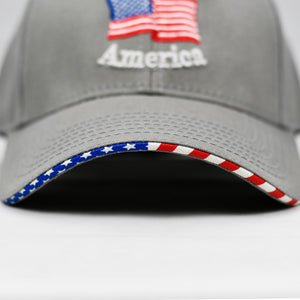 """God Bless America"" w/ American Flag Bill in Grey"