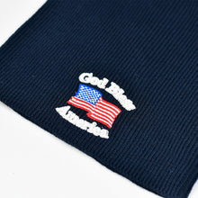 "Load image into Gallery viewer, ""God Bless America"" Navy Blue Knit Cap"
