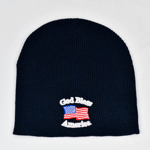"""God Bless America"" Navy Blue Knit Cap"