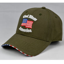 "Load image into Gallery viewer, ""God Bless America"" w/ American Flag Bill in Olive Green"