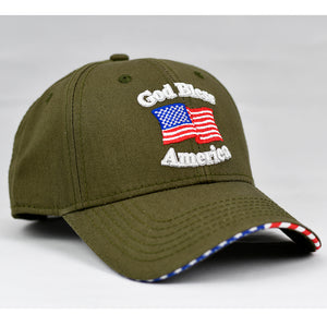 """God Bless America"" w/ American Flag Bill in Olive Green"