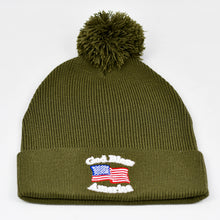 "Load image into Gallery viewer, ""God Bless America"" w/ American Flag in Olive Green Pom-Pom Knit Cap"