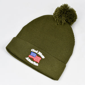 """God Bless America"" w/ American Flag in Olive Green Pom-Pom Knit Cap"
