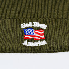 "Load image into Gallery viewer, ""God Bless America"" w/ American Flag & RWB Pom-Pom Olive Green Knit Cap"