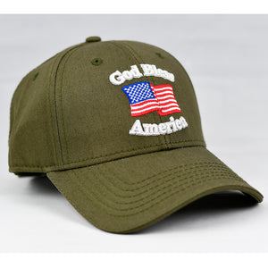 """God Bless America"" w/ American Flag in Olive Green"