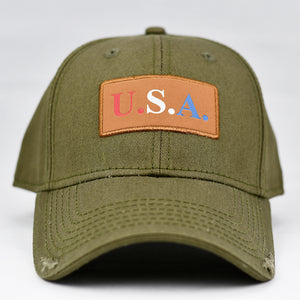 """USA"" w/ RBW Embossed Leather Patch in Olive Green"