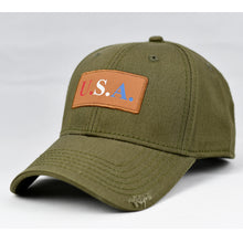 "Load image into Gallery viewer, ""USA"" w/ RBW Embossed Leather Patch in Olive Green"