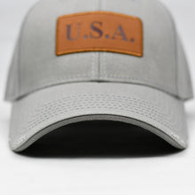 "Load image into Gallery viewer, ""USA"" w/ Embossed Leather Patch in Grey"