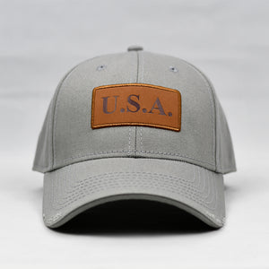 """USA"" w/ Embossed Leather Patch in Grey"