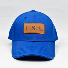 "Load image into Gallery viewer, ""USA"" w/ Embossed Leather Patch in Royal Blue"