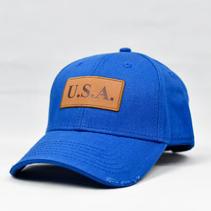 """USA"" w/ Embossed Leather Patch in Royal Blue"