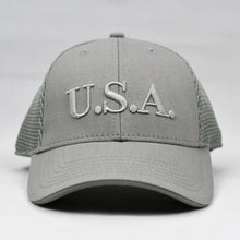 "Load image into Gallery viewer, ""U.S.A"" Embroidered in Grey"