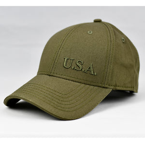 """U.S.A"" Olive Embroidered FR in Olive Green"