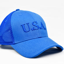 "Load image into Gallery viewer, ""U.S.A"" Navy Embroidered in Royal Blue"