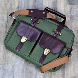 Artisti Leather & Canvas Messenger Bag
