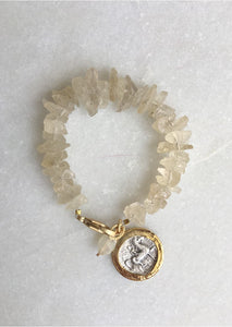 Raw Crystal Coin Bracelet