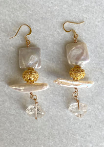 Herkimer Pearl Earrings