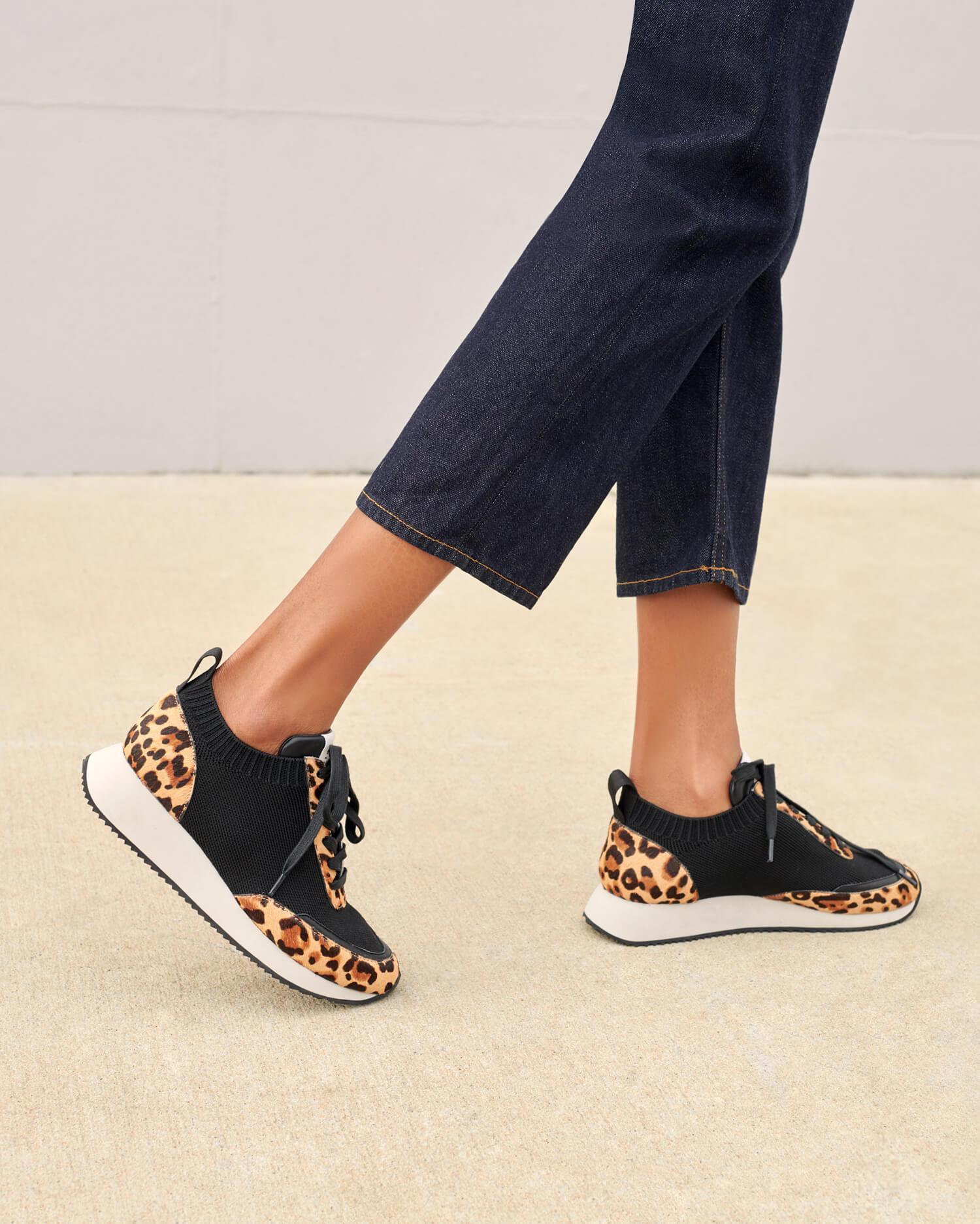 Color:Black/Light Leopard knit/haircalf; Color: Black/Light Leopard knit/haircalf