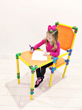 Load image into Gallery viewer, girl playing on building toy furniture