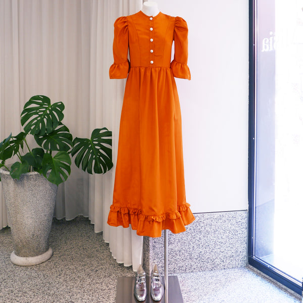 Button Up Long Prairie Dress in Orange Moiré