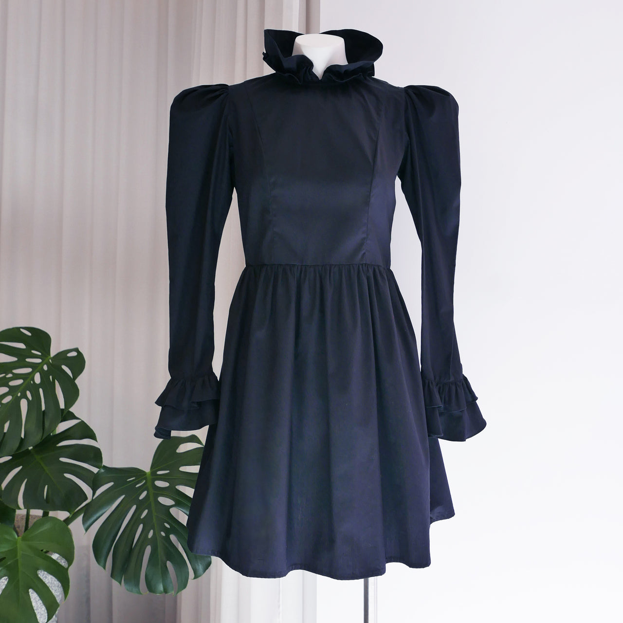 Mini Prairie Dress in Black Cotton