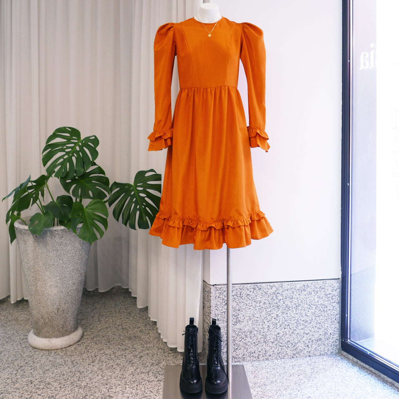 Collarless Prairie Midi Dress in Orange Moiré