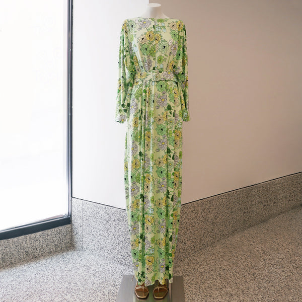 Elisabeth Jersey Maxi Dress in Green Floral