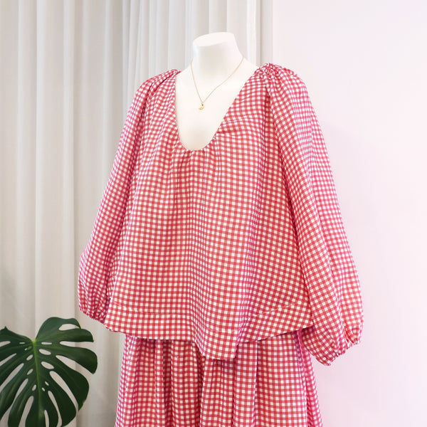 George Linen Top in Red Gingham