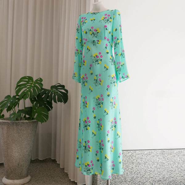 Jane Dress L/S Floral Turquoise