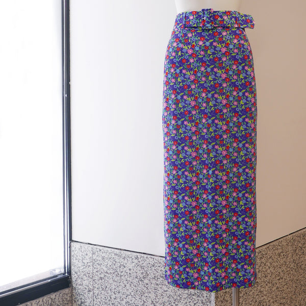 Monica Jersey Pencil Skirt in Purple Flower