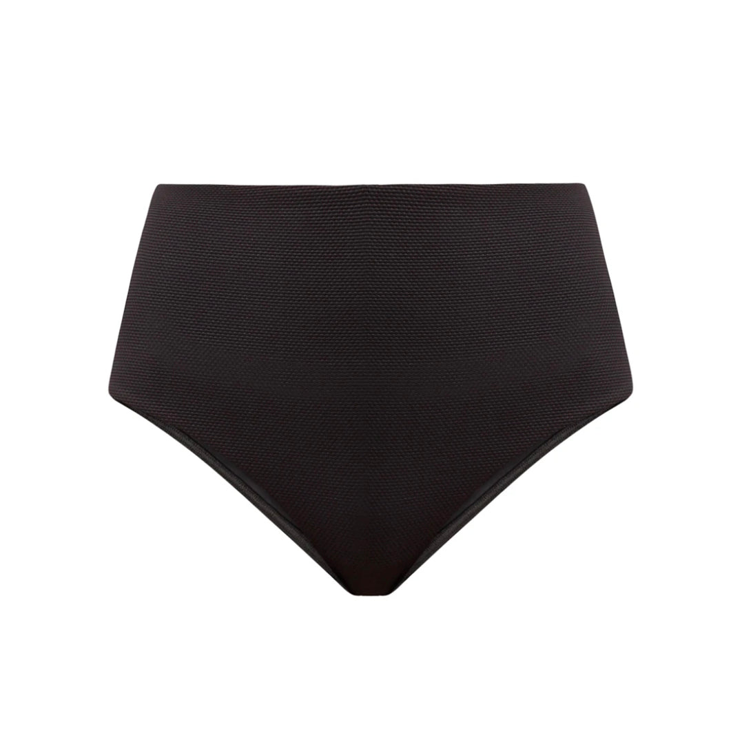 Ana High-Waisted Bikini Bottom in Textured Black