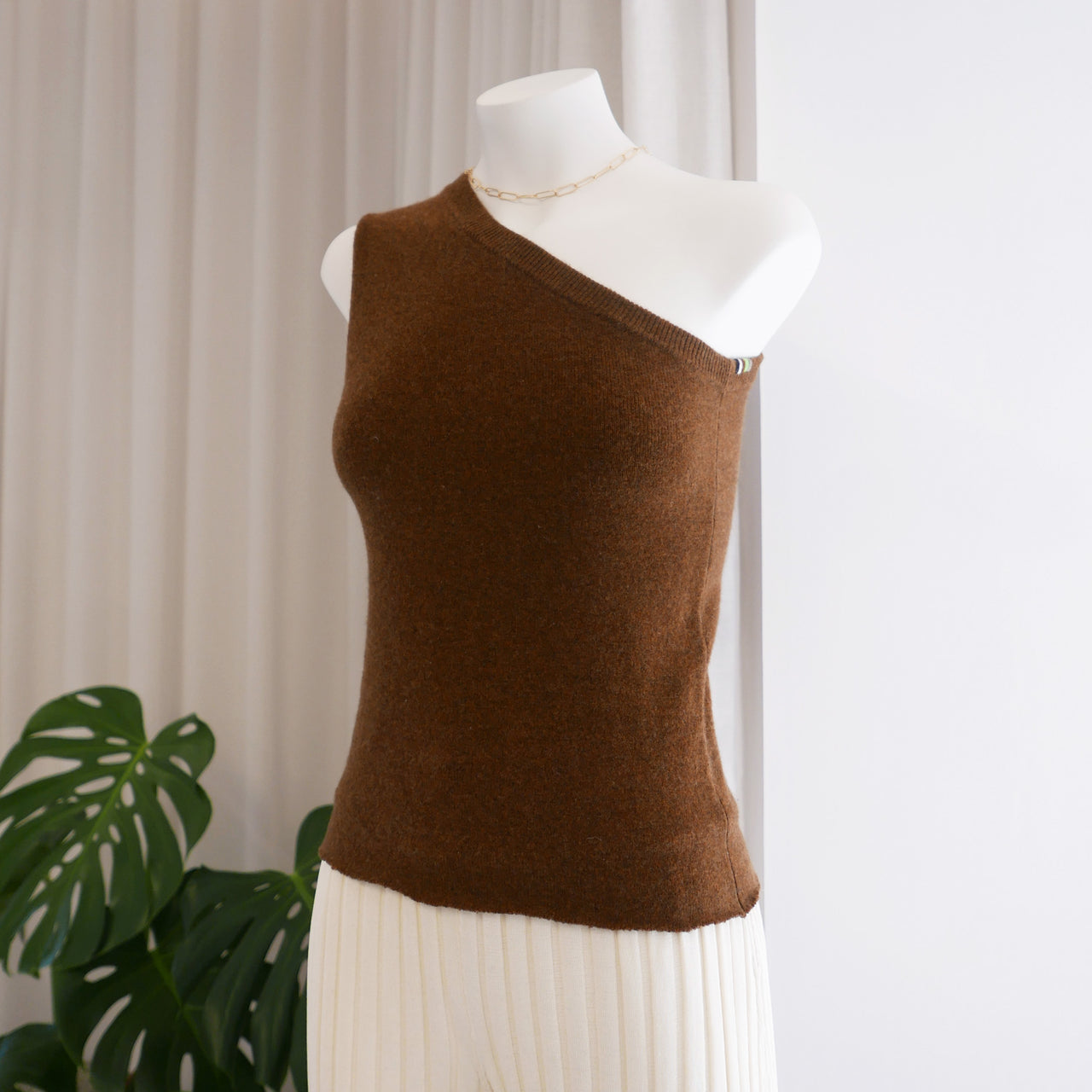 Asymetric Cashmere Top in Rust