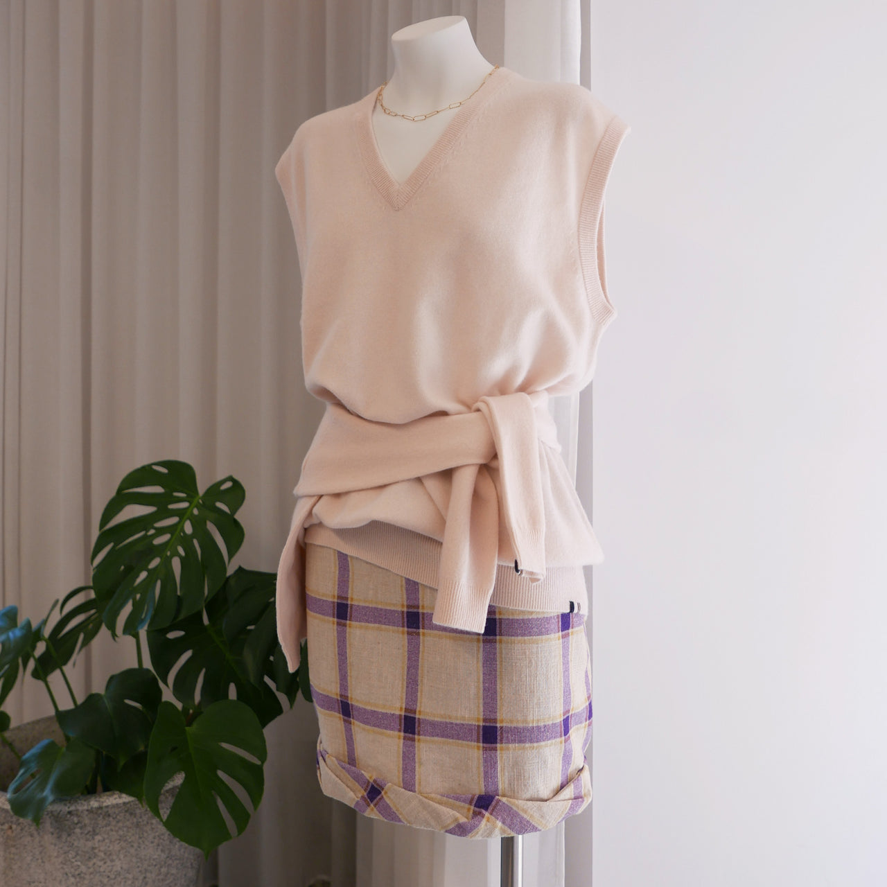 Cecilie Linen Skirt Purple Checks