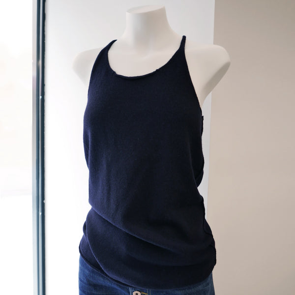 Invisible Cashmere Tank Top in Navy