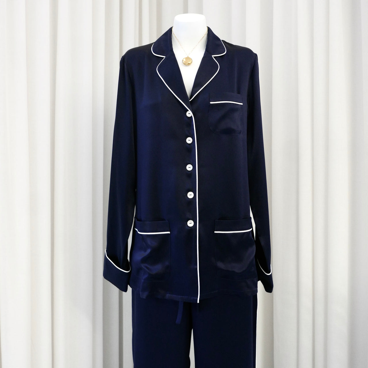 Coco Silk Pyjama Set in Navy
