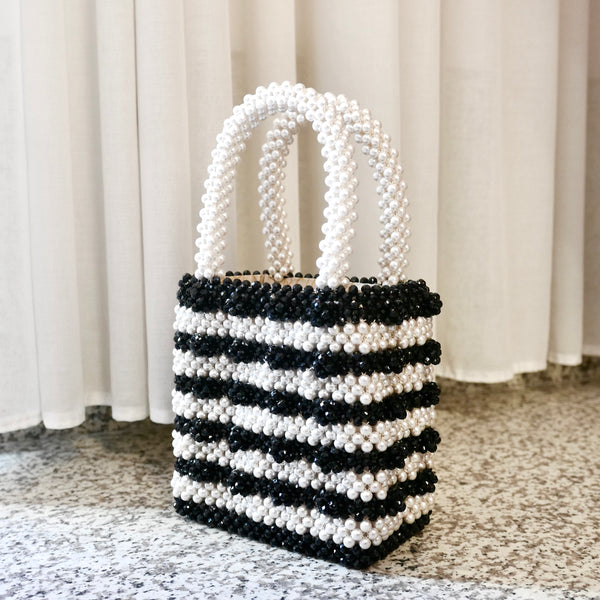 Antonia Beaded Bag in Black and Cream