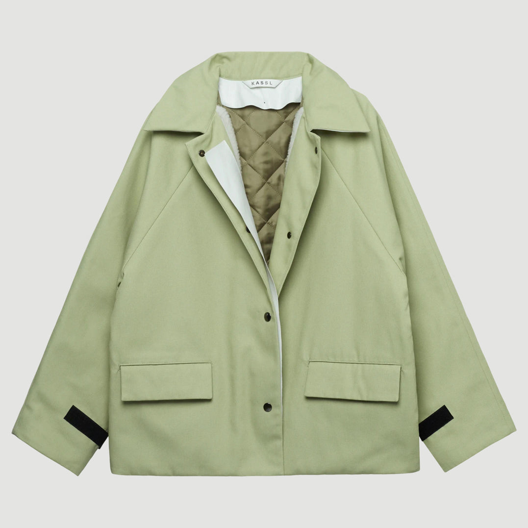 Canvas Sheepskin Patchwork Reversible Jacket in Green Tea