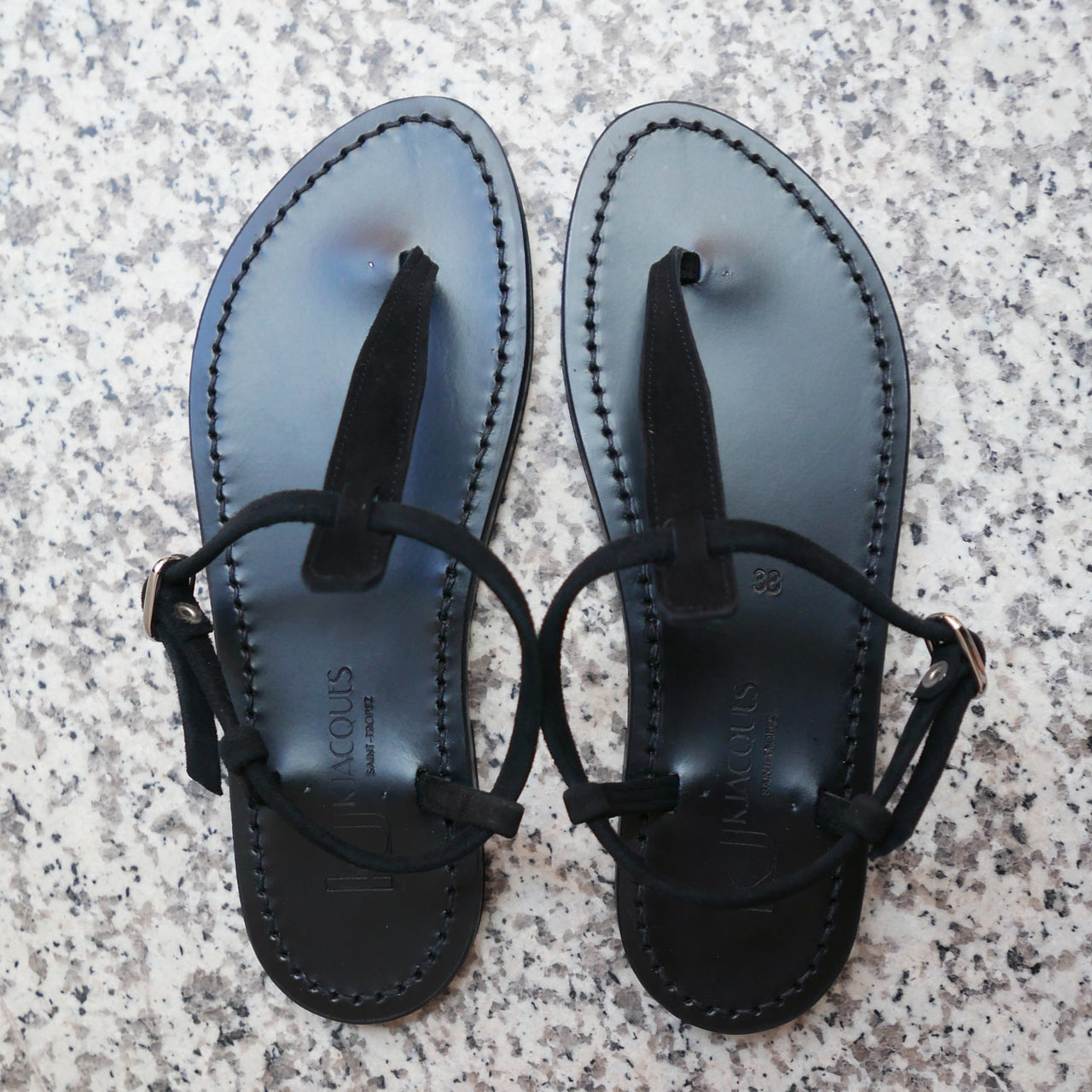 Picon Suede Sandals in Black