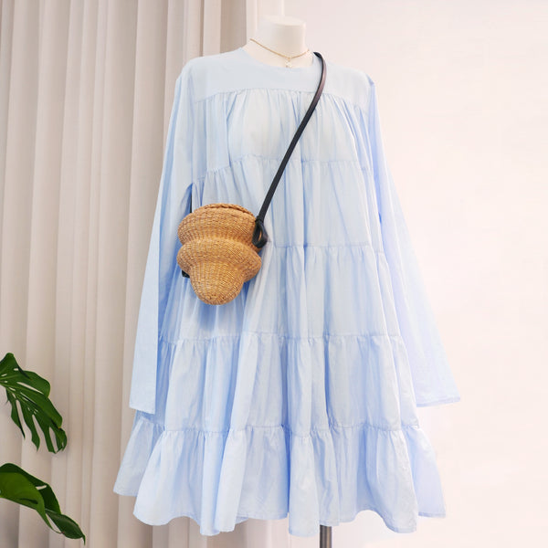 Soliman Tiered Dress in Light Blue