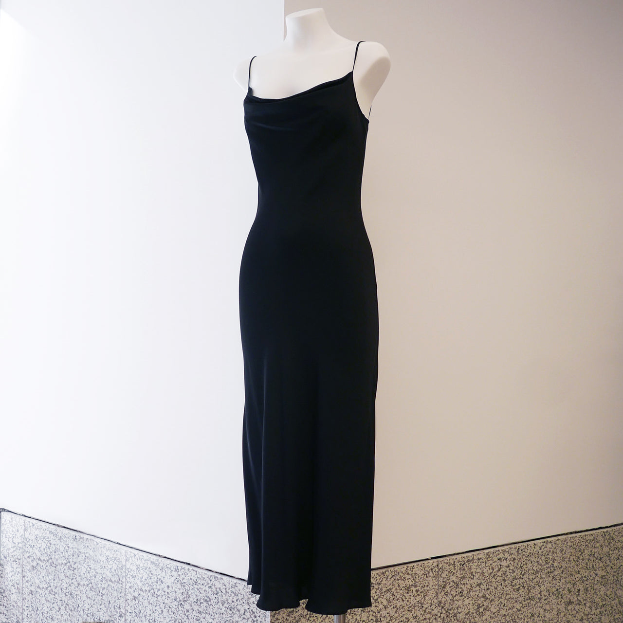 Bias Slip Dress in Black