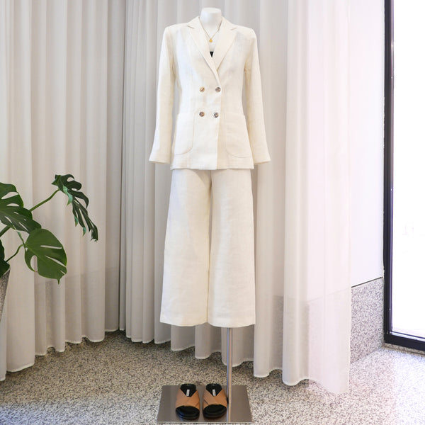 Long Linen Blazer in Ecru