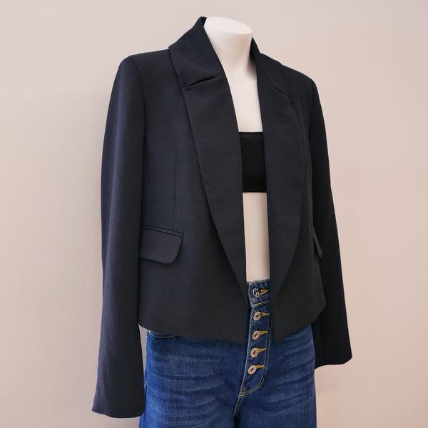 Littoral Cropped Blazer in Pebble Black