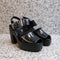 Sora Clog in Black Crinkle Patent Leather