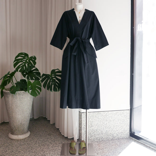 Copake Dress in Black Crisp Cotton