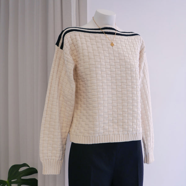 Cress Sweater in Ecru Basketweave